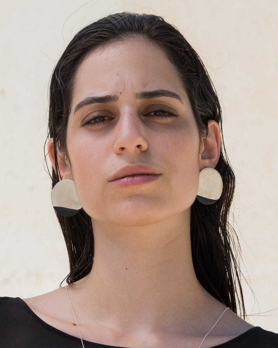 Large Moon Silver Earrings
