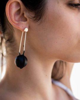 Large Globe Silver Earrings