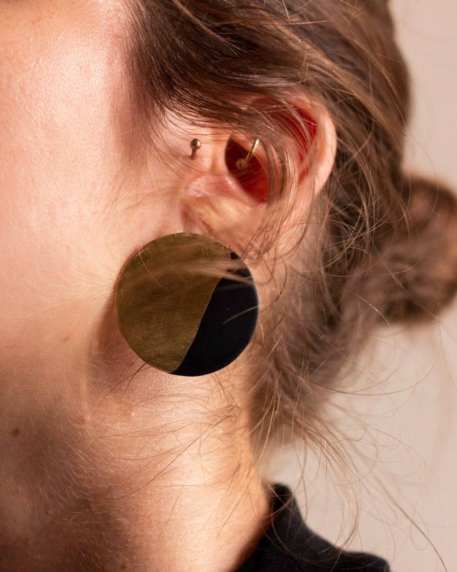 Large Moon Gold Earrings